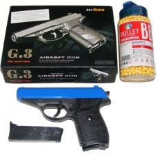 Galaxy G3 Blue Spring Powered PPK Metal BB Gun Pistol 250 FPS & 2000 Pellets