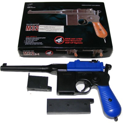 Double Eagle M32 Blue Spring Powered Plastic BB Gun Pistol (Mauser Replica)