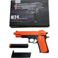Double Eagle M24 Spring Powered Orange Plastic BB Gun Pistol With Silencer - Replica of Beretta M92