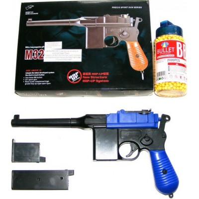 Double Eagle M32 Blue Spring Powered BB Gun Pistol (Mauser Replica) & 2000 Pellets