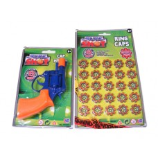 Blue & Orange 8 Shot Plastic Cap Gun Pistol & 160 Caps